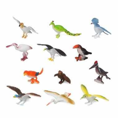 Geboorte 12x plastic vogels speelgoed figuren voor kinderen