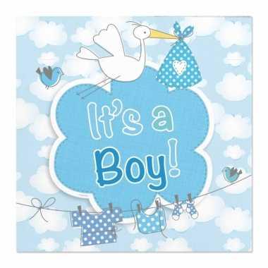 40x papieren servetjes geboorte jongen blauw feestartikelen 25 x 25