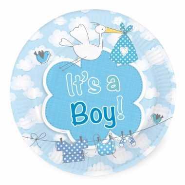 40x stuks gebaks/taart feest bordjes geboorte jongen 18 cm