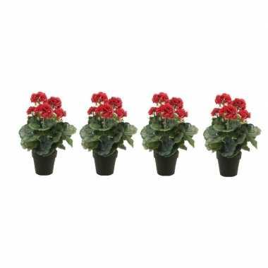 Geboorte 4x nep geranium plant rood in zwarte pot kunstplant