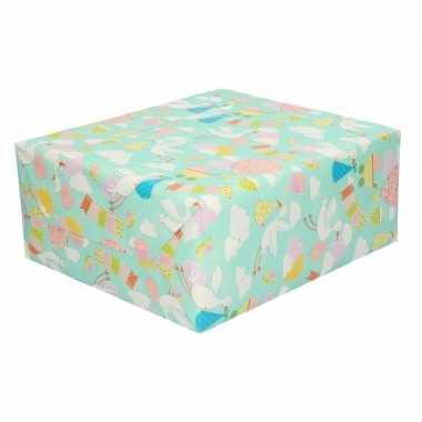 Geboorte 4x rollen inpakpapier/cadeaupapier baby 200 x 70 cm ooievaar print