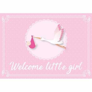 5x postkaartje/wenskaartje geboorte/babyshower meisje roze