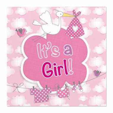 60x papieren servetjes geboorte meisje roze feestartikelen 25 x 25 c