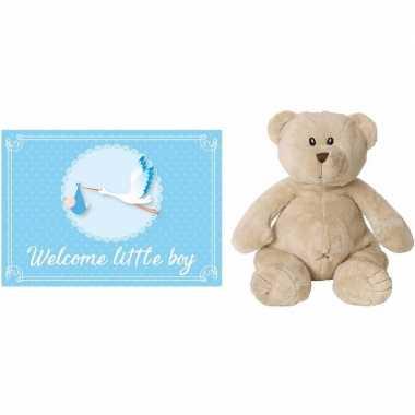 Happy horse bruine beren knuffels + geboortekaartje welcome little b