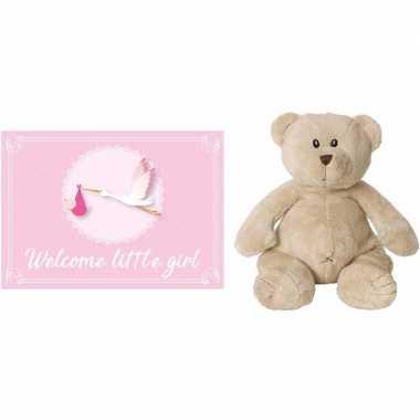Happy horse bruine beren knuffels + geboortekaartje welcome little g