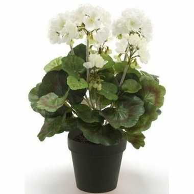 Nep geranium plant wit in zwarte pot kunstplant