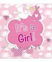 40x papieren servetjes geboorte meisje roze feestartikelen 25 x 25 cm