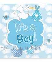 60x papieren servetjes geboorte jongen blauw feestartikelen 25 x 25 cm